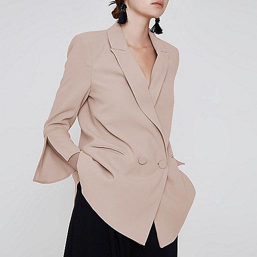 Dark beige split sleeve blazer