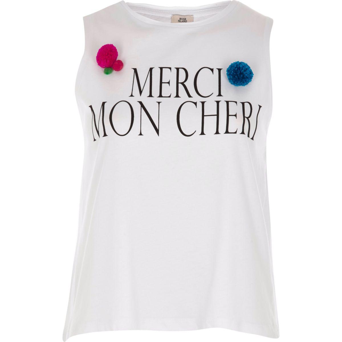 White 'merci mon cheri' pom pom tank top