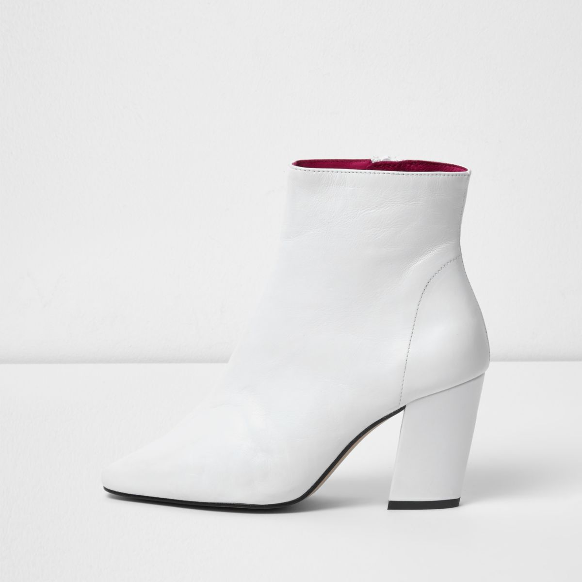 White block heel leather ankle boots