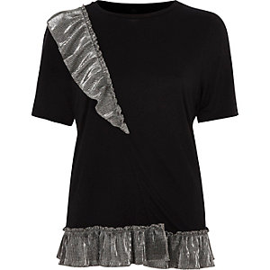 Black metallic frill T-shirt