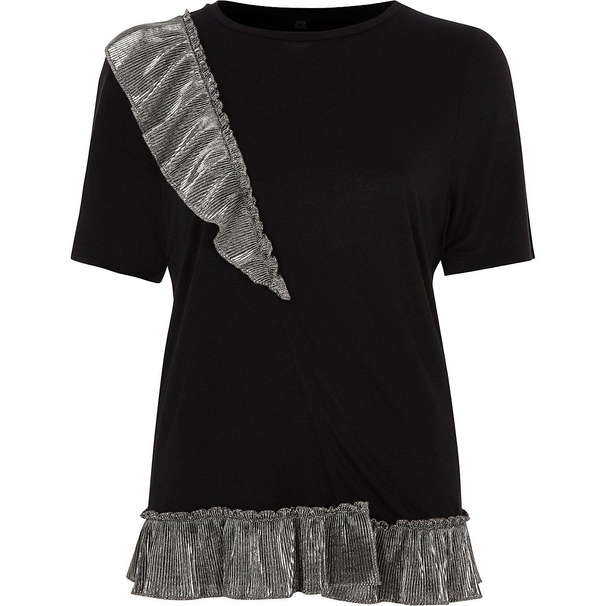 Zwart metallic T-shirt met ruches