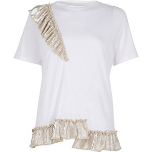 White metallic asymmetric frill T-shirt