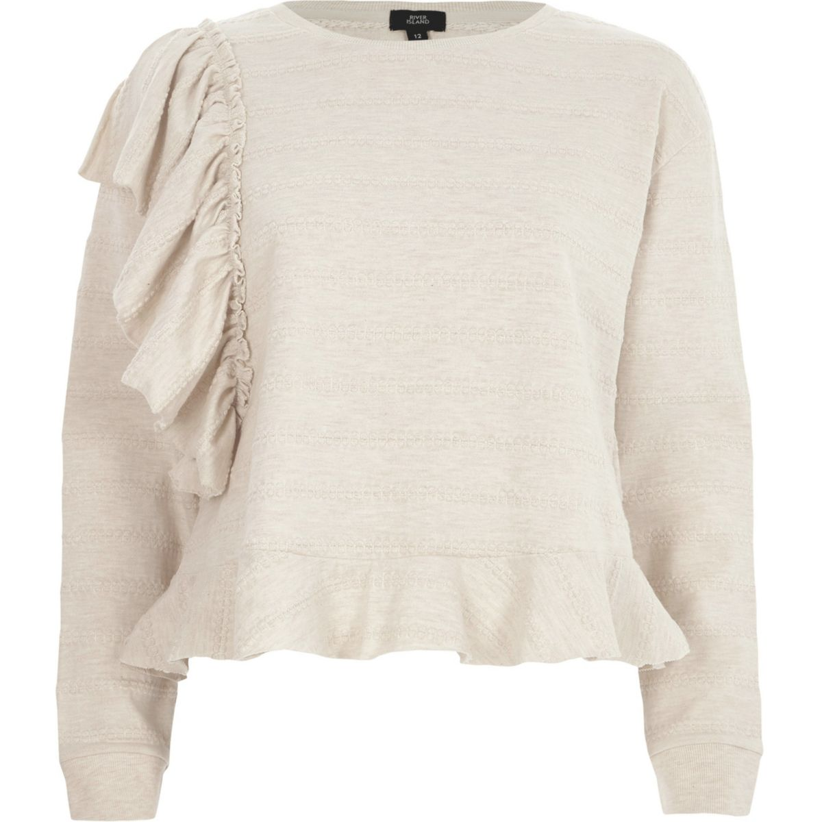Beige jacquard frill long sleeve top