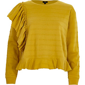 Yellow jacquard frill long sleeve top