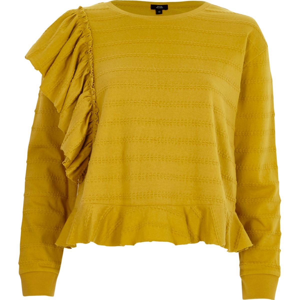 Yellow jacquard frill long sleeve top