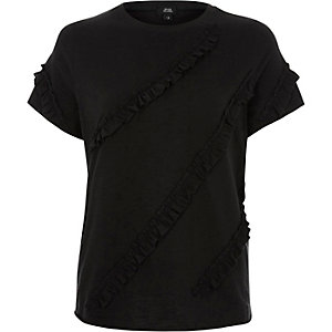 Black frill front T-shirt