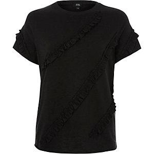 T-shirt noir à volants sur le devant