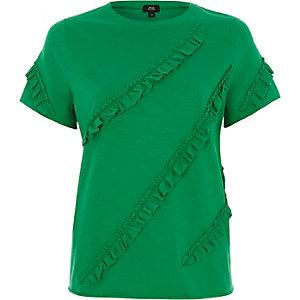 Green frill front T-shirt
