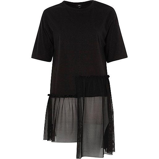 Black longline mesh stepped hem T-shirt