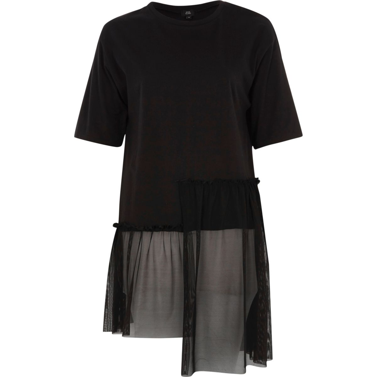 Black longline mesh stepped hem T-shirt