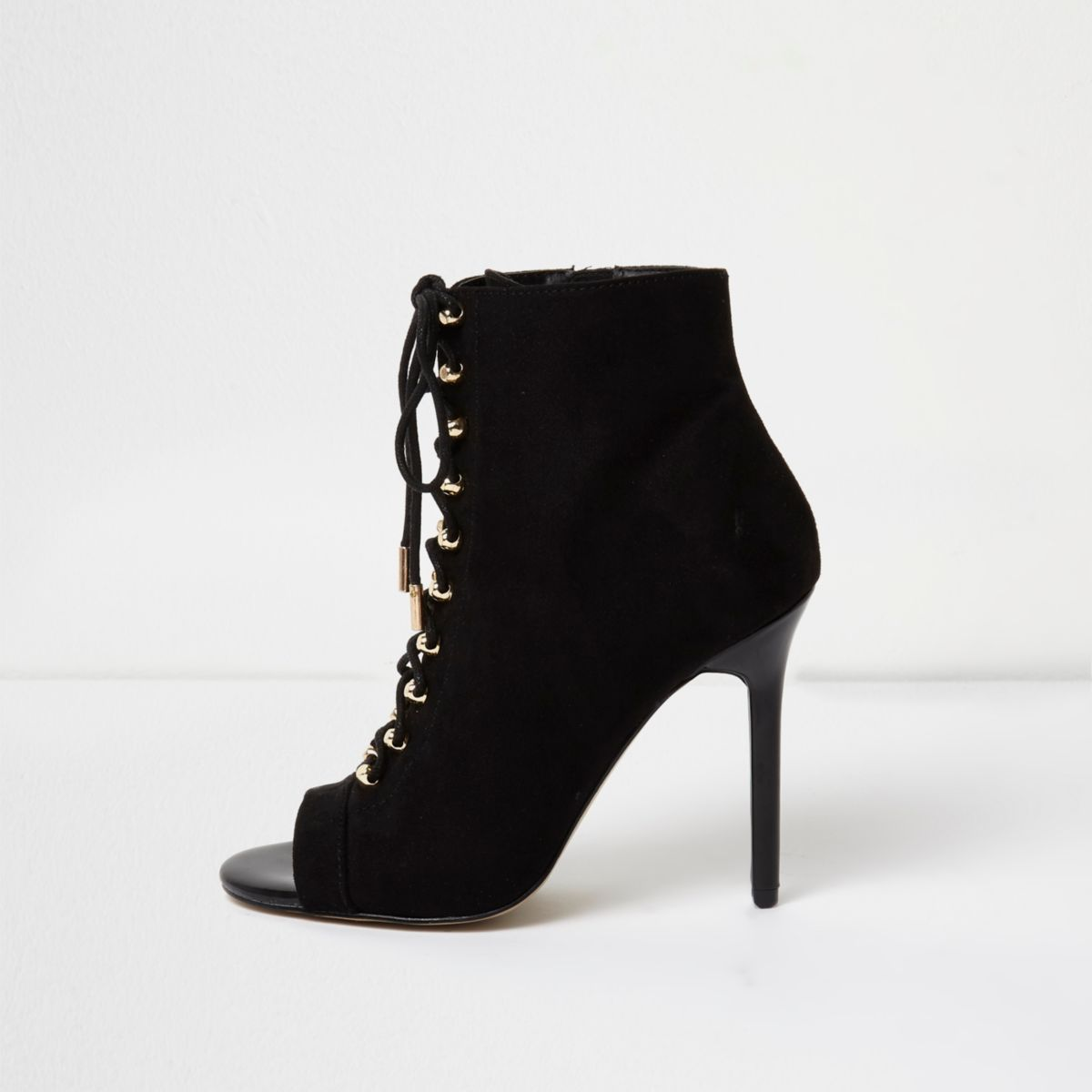 Black open toe lace-up heeled boots