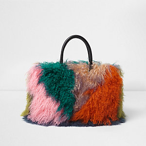 Orange mongolian fur patchwork large tote bag