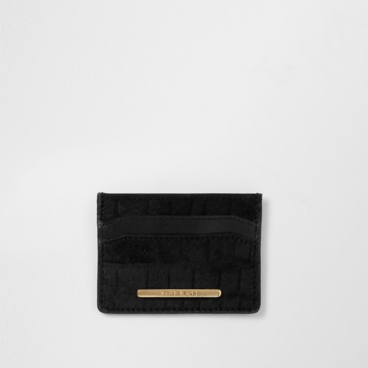 Black croc embossed ponyskin cardholder