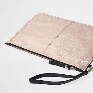 Rose gold metallic leather clutch bag