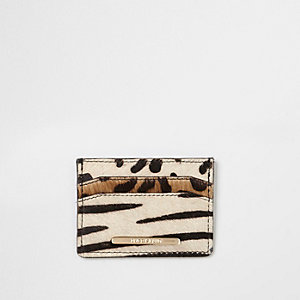 Black pony hair animal print cardholder