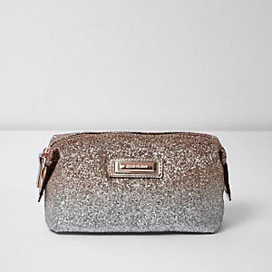 Gold ombre glitter make-up bag