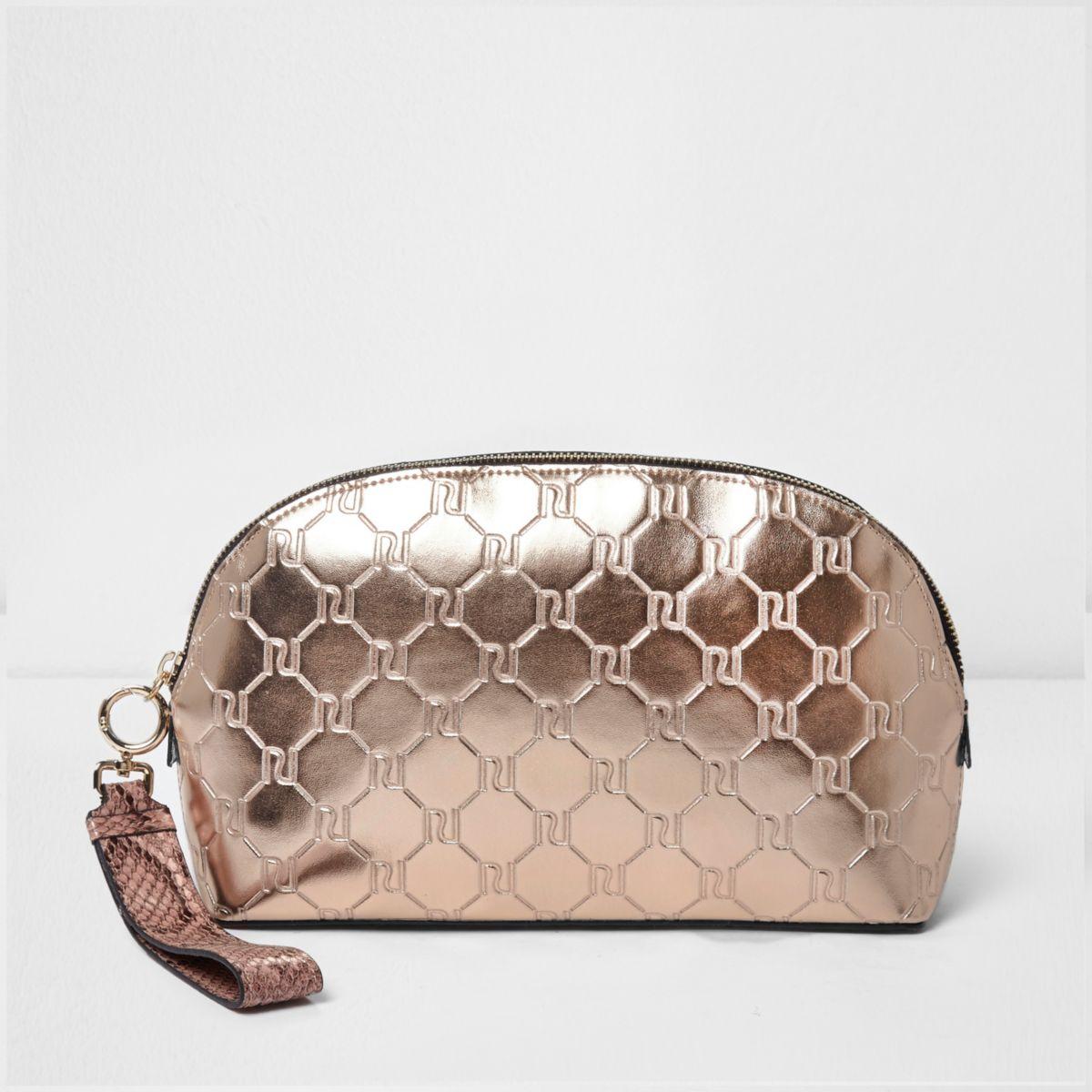 Rose gold metallic monogram make-up bag