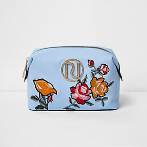 Blue floral embroidered make-up bag