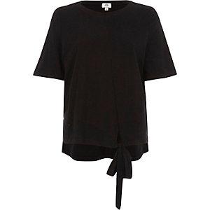 Schwarzes, asymmetrisches T-Shirt