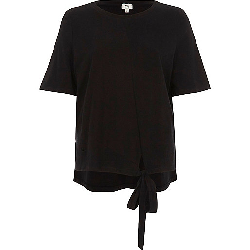 Black high low knot front T-shirt