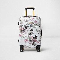 Pink floral print plastic four wheel suitcase