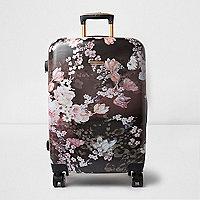 Zwarte hard shell koffer met bloemenprint