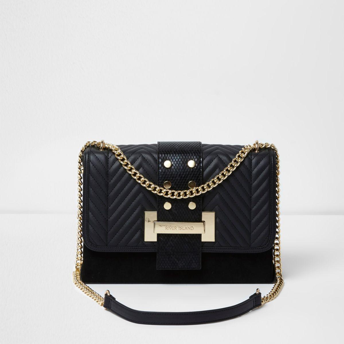 Zwarte doorgestikte tas met ketting