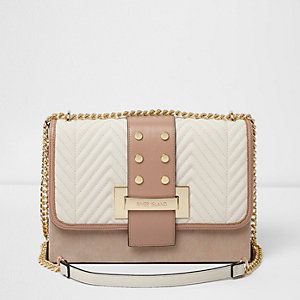 Beige quilted panel studded cross body bag