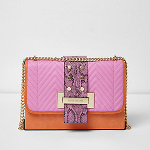 Orange block cross body snake tab bag