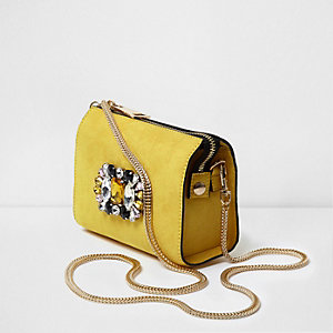 Yellow jewel embellished chain cross body bag