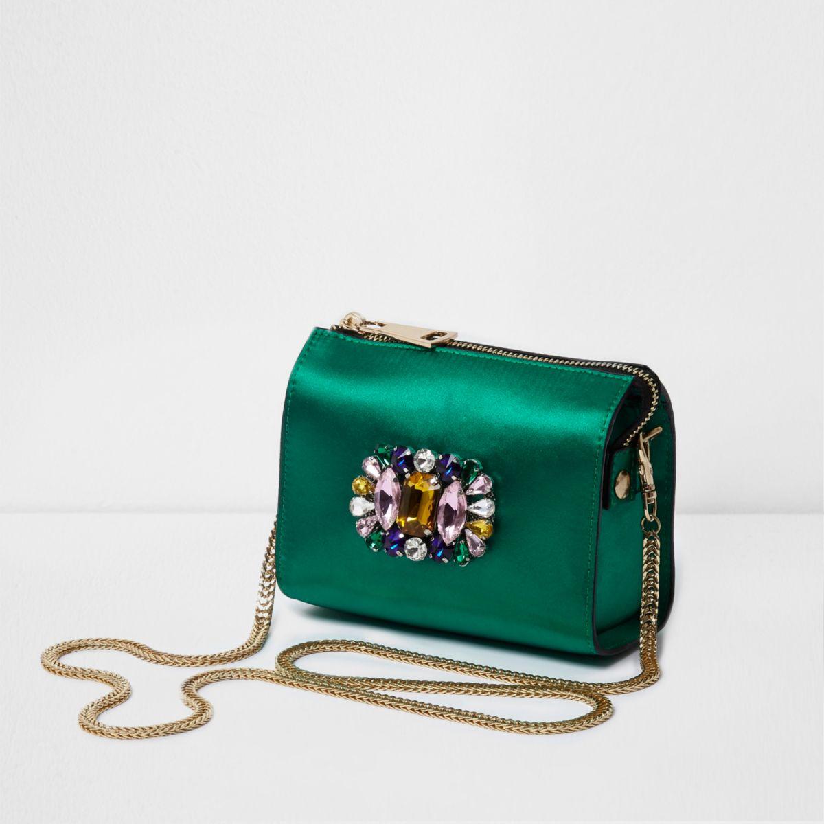 Green satin embellished chain cross body bag