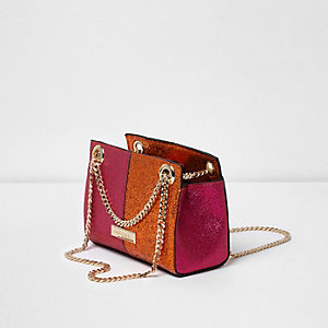 Pink and orange glitter mini chain bag