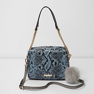 Blue snake print pom pom mini chain tote bag