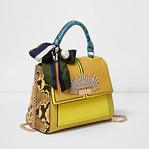 Yellow faux pearl and scarf tote chain bag