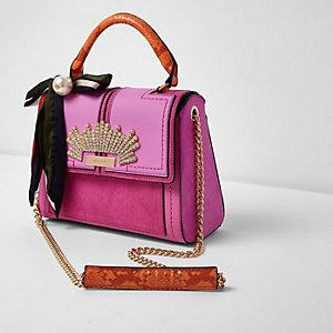 Roze en oranje verfraaide handtas met ketting