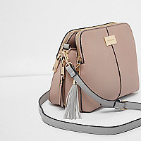 Beige tassel cross body bag