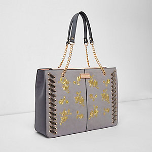 Grey floral embroidered stitch chain tote bag