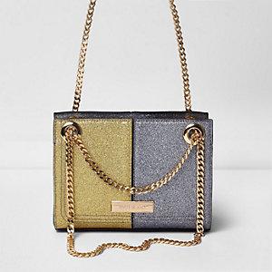 Goud- en zilverkleurige kleine tas met ketting en glitter