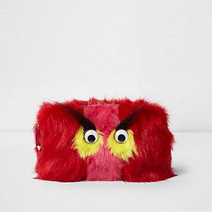 Trousse à maquillage monstre en fausse fourrure rouge avec yeux 3D