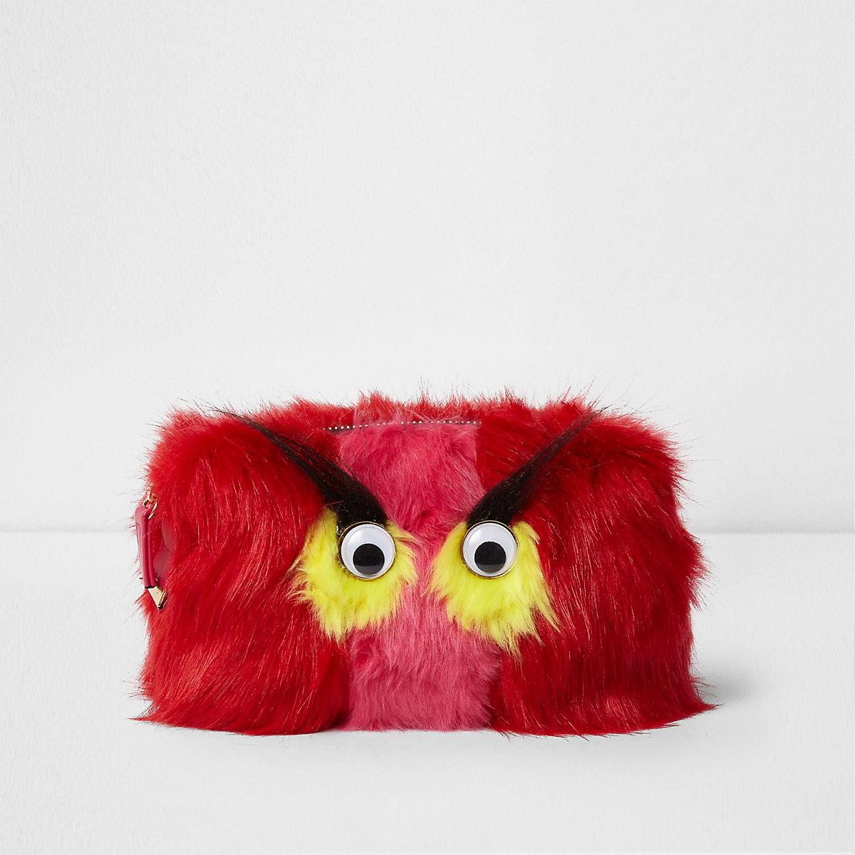 Red faux fur googly eye monster makeup bag