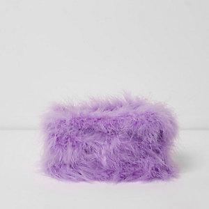 Trousse à maquillage violet clair à plumes