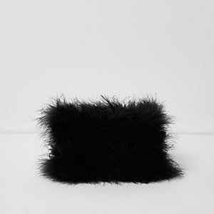 Black feather make-up bag