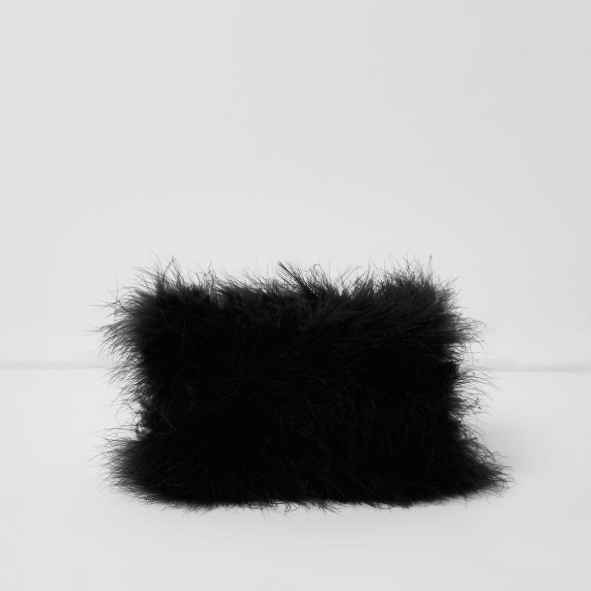 Black feather make-up bag