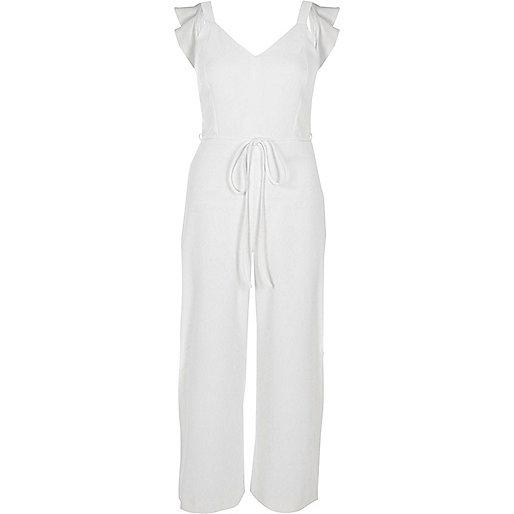 White back bow sleeveless culotte jumpsuit