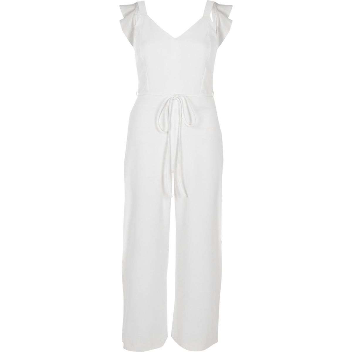 White back bow sleeveless culotte jumpsuit