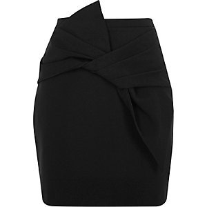 Black bow front mini skirt