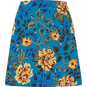 Mini-jupe trapèze à fleurs bleue