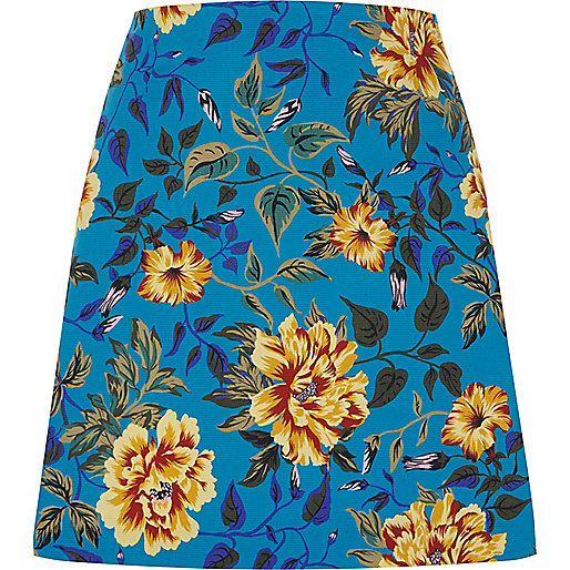 Blue floral print A line mini shirt