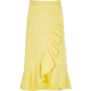 Yellow frill wrap front midi skirt
