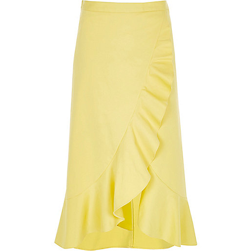 Yellow frill wrap front midi skirt